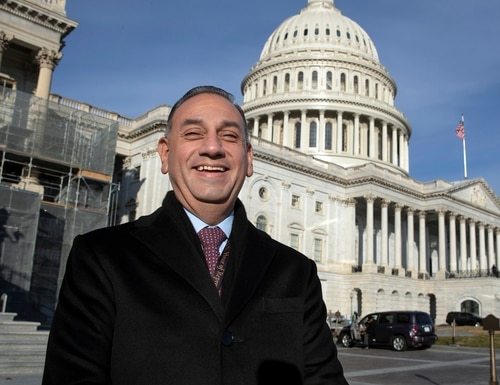Former Rep. Gil Cisneros stands in front of the Capitol during a week of orientation for incoming members in November 2018. On Monday, President Joe Biden nominated him to oversee the Pentagon's personnel and readiness office. (J. Scott Applewhite/AP)