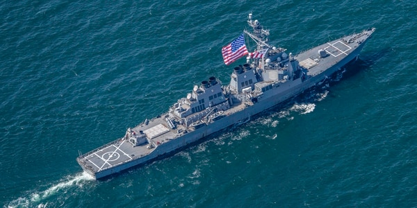 The guided-missile destroyer Carney in the Black Sea. The big SPY radar on destroyers can betray the ship's position to sophisticated adversaries. (Navy photo by MC1 Kyle Steckler)