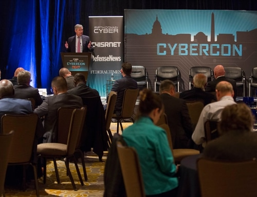 Sen. Sheldon Whitehouse, D-R.I., gives a keynote speech during Cybercon 2017 at the Ritz-Carlton Hotel in Pentagon City on Nov. 28, 2017. (Jeff Martin/Staff)