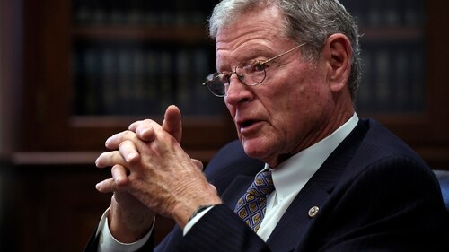 Senate Armed Services Committee Chairman Jim Inhofe bought Raytheon stock this week after calling on President Donald Trump to boost the defense budget, but he has since unloaded the stock, according to a spokeswoman.