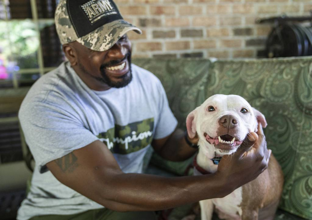 Omar Brooks pets Maisie Mae, a foster dog at Bridge To Home Animal Rescue on Monday, July 6, 2020, in Eighty Four, Pa.