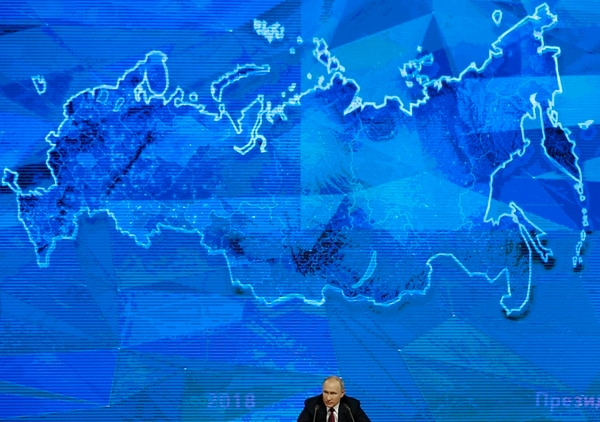 Russian President Vladimir Putin pointed at the U.S. intention to withdraw from the 1987 Intermediate-Range Nuclear Forces (INF) Treaty, saying if the U.S. puts intermediate-range missiles in Europe, Russia will be forced to take countermeasures. He voiced warnings of a rising nuclear threat during his annual news conference in Moscow on Thursday, Dec. 20, 2018. (Alexander Zemlianichenko/AP)