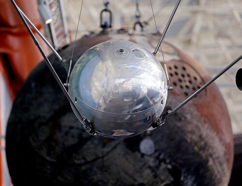 In this Oct. 2, 2017, photo, a Sputnik 1 test satellite, most likely manufactured by the Academy of Sciences of the USSR and one of only two known to exist, is displayed at the Museum of Flight in Seattle. (Elaine Thompson/AP)
