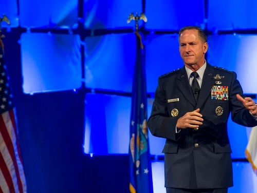 Air Force Chief of Staff Gen. David L. Goldfein, delivers a speech during the Air Force Sergeants Association Professional Airmen's Conference and International Convention, Aug. 24, 2016, at the Grand Hyatt in San Antonio, Texas. Goldfein focused on his vision for the future of the Air Force and joint warfighting. (U.S. Air Force photo/Staff Sgt. DeAndre Curtiss)