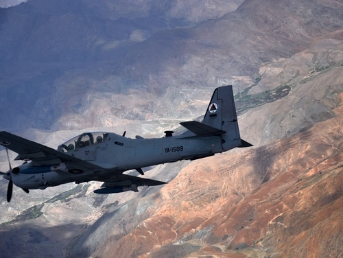 An Afghan air force A-29 Super Tucano flies over Afghanistan during a training mission April 6, 2016. The A-29 is one of at least four light attack aircraft the Air Force is testing. (Capt. Eydie Sakura/Air Force)