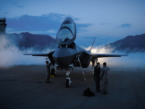 Staff Sgt. Frank Anderson, F-35A Crew Chief from the 34th Aircraft Maintenance Unit salutes Capt. Tyler McBride, F-35A Pilot at Hill Air Force Base, Utah Aug. 28, 2017. (Michael McCool/U.S. Air Force)