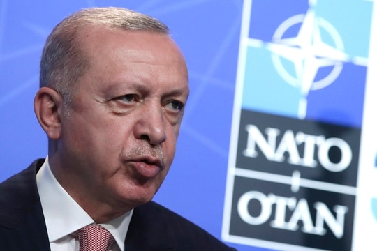 Turkey's President Recep Tayyip Erdogan speaks during a media conference at a NATO summit in Brussels, Monday, June 14, 2021. (Yves Herman/Pool via AP)