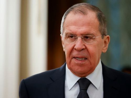 In this Feb. 3, 2020 file photo, Russian Foreign Minister Sergey Lavrov arrives to attend a meeting in Moscow. (Alexander Zemlianichenko/AP)