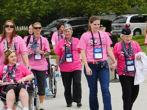 Women taking part in the first-ever all-female honor flight on Sept. 22, 2015.