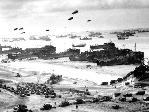 Barrage balloons, which were manned by the 320th Barrage Balloon Battalion, were a vital part of protecting Allied forces from German aircraft on D-Day. (National Archives)