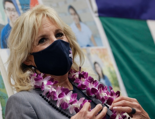 First lady Jill Biden visits a classroom at Glendale Middle School on (Barria/Pool via AP)