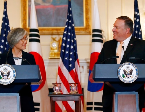 Secretary of State Mike Pompeo, right, speaks during a media availability with South Korean Foreign Minister Kang Kyung-wha at the State Department, Friday, May 11, 2018, in Washington. (Alex Brandon/AP)