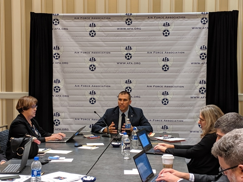 SDA Director Derek Tournear speaks to reporters at an Air Force Association conference. (Space Development Agency)