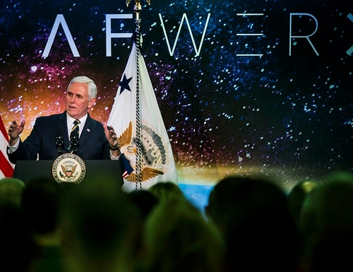 Vice President Mike Pence talks about the innovations that will come during the grand opening of AFWERX, a nonprofit work space now open in office park near the University of Nevada, Las Vegas on Thursday, Jan. 11, 2018. (LE Baskow/Las Vegas Sun via AP)