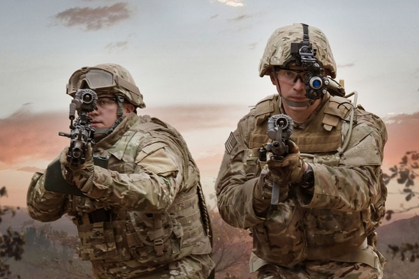 The Army's new Enhanced Night Vision Goggles-Binocular uses wireless technology and helps soldiers process large amounts of information in complex environments. (BAE Systems)