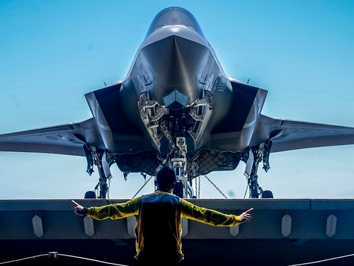 Nearly a day after the Pentagon grounded all U.S. F-35s, the 13th Marine Expeditionary Unit and all three active Marine air wings are back to normal F-35 flight operations. (Mass Communication Specialist 3rd Class Matthew Freeman/Navy)
