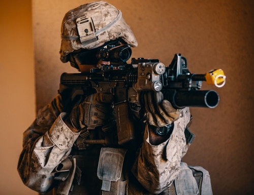 A Marine with 3rd Battalion, 3rd Marine Regiment, 3rd Marine Division, participates in force on force training during Integrated Training Exercise (ITX) 2-19 at Range 220 aboard Marine Corps Air Ground Combat Center, Twentynine Palms, California Jan. 27, 2019. (Lance Cpl. Robin Lewis/Marine Corps)