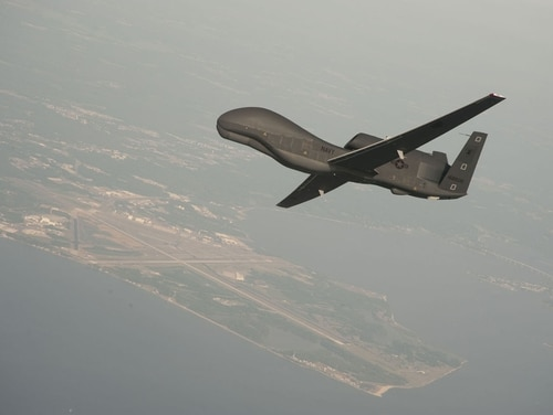 A Navy Global Hawk drone like this one was damaged during takeoff last month in the Middle East. (Navy)