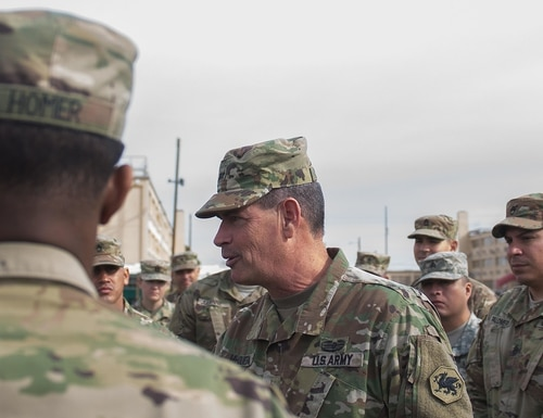 Then-Maj. Gen. Mark McQueen, commanding general, 108th Training Command (Initial Entry Training), takes a moment to praise the soldiers of the Special Troops Battalion, 304th Sustainment Brigade, for their 12 months of serving as CRC Cycle 4 at the Conus Replacement Center on Jan. 13, 2017, after their transfer of authority ceremony at Fort Bliss, Texas. (DVIDS)