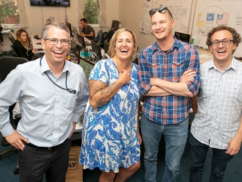 Matt Cutts (at left), Shannon Sartin (center), Scott Haselton (center right), and Sam Gensburg (right) are a few of the typical not-so-typical employees that make up the U.S. Digital Service, which uses a Silicon Valley startup model to transform federal digital products. (Alan Lessig/Staff)