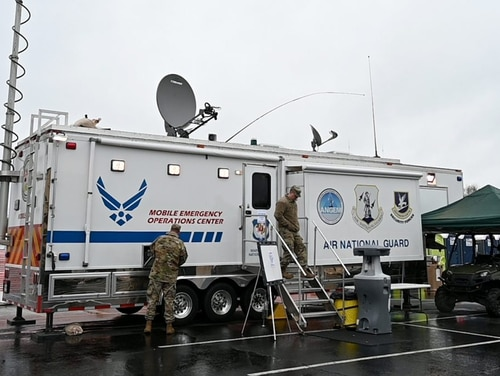 Members of the Maryland National Guard continue to support efforts at the COVID-19 community screening and testing site at FedEx Field in Landover. (Maryland National Guard)