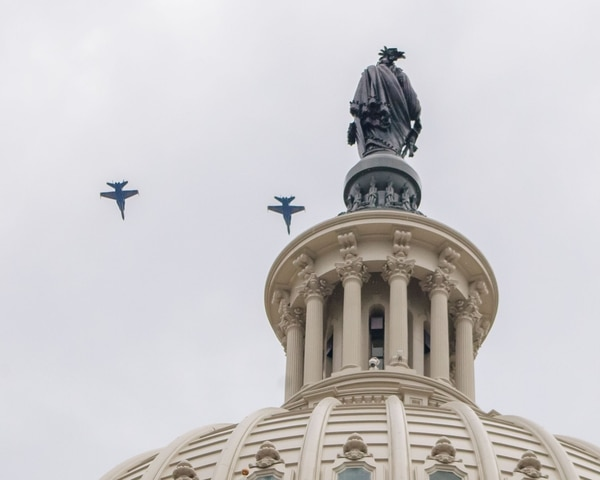 The West Terrace view of two Navy F/A-18F Super Hornets from Naval Air Station Oceana in Virginia performing a flyover of the Capitol dome during the July 4, 2019, celebrations in Washington. (Rachel Lincoln)