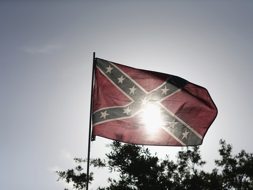 A Confederate flag is seen during a rally to show support for the American and Confederate flags on July 11, 2015, in Loxahatchee, Fla. (Joe Raedle/Getty Images)