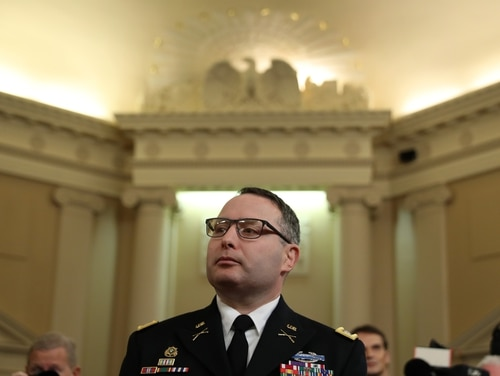 National Security Council Director for European Affairs Lt. Col. Alexander Vindman arrives to testify before the House Intelligence Committee in the Longworth House Office Building on Capitol Hill Nov. 19, 2019, in Washington. (Chip Somodevilla/Getty Images)
