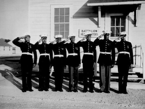 A group of the Montford Point Marines in dress blues, ca. May 1943. (National Archives)