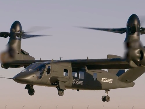 Bell Helicopter's V-280 Valor tilt-rotor aircraft has a combat range of 500-800 nautical miles, a speed of 280 knots (true airspeed) and capable of a load of more than 12,0000 pounds. (Bell)