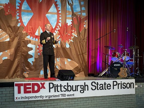 150617-N-AT895-057 PITTSBURGH, Pa. (June 17, 2015) Chief of Naval Operations (CNO) Adm. Jonathan Greenert talks about accountability and integrity during a TEDx talk at Pittsburgh State Prison. TEDx (Technology, Entertainment and Design) Talks are independently run TED events to share ideas in communities around the world via the internet . (U.S. Navy photo by Mass Communication Specialist 1st Class Nathan Laird/Released)