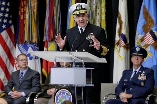 Vice Adm. Charles A. Richard, new commander of U.S. Strategic Command, speaks during a change of command ceremony at Offutt Air Force Base in Nebraska, Monday, Nov. 18, 2019, with Deputy Secretary of Defense David Norquist, left, and Air Force Gen. John Hyten, outgoing commander, right. (Nati Harnik/AP)