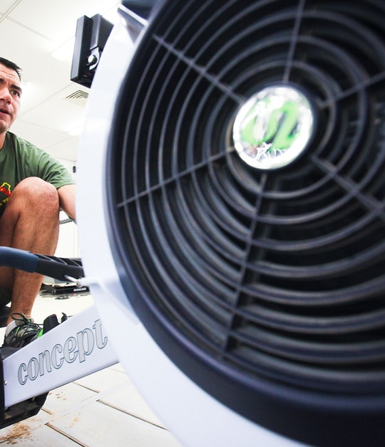Marines of any age can now conduct the rowing portion of the PFT if they have a medical chit proving they are incapable of completing the running test. (Cpl. Jeff Drew/ Marine Corps)