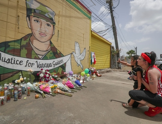 A mural for murdered Fort Hood soldier Vanessa Guillen painted Thursday, July 2, 2020, in Houston. (Steve Gonzales/Houston Chronicle via AP)