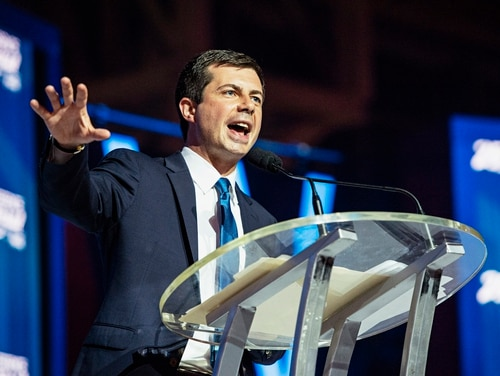 Democratic presidential candidate and South Bend, Ind., Mayor Pete Buttigieg speaks at the Essence Festival in New Orleans on July 7, 2019. (Amy Harris/AP)