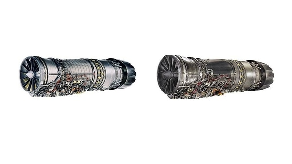 The twin-engine TF-X will be powered by the F110-GE-129, left, or the F110-GE-132 engine.