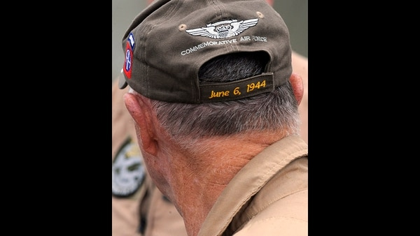 This April 9, 2019, photo, shows the hat of a crew member of the World War II troop carrier That's All, Brother during a stop in Birmingham, Ala. The World War II aircraft that took part in the D-Day invasion in 1944 is returning to Europe for the 75th anniversary of the battle. (Jay Reeves/AP)