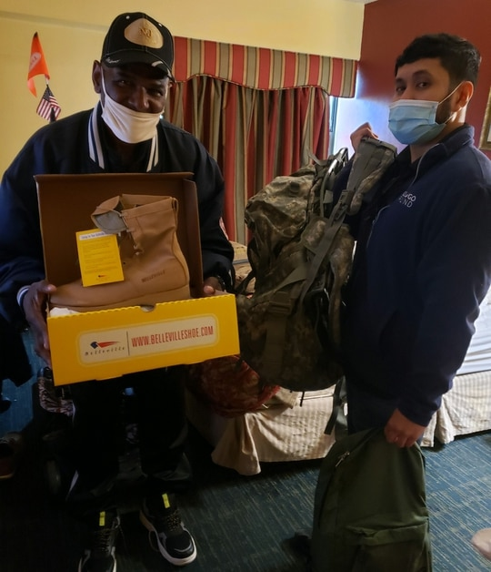 GI Go Fund members delivered clothes and emergency supplies to one of the many homeless and at-risk veterans during the COVID-19 pandemic. Veterans also receive support to help them find employment and get the care they need. (Photo courtesy of GI Go Fund)