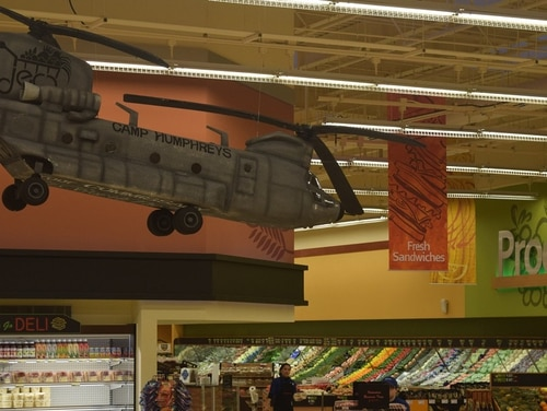 Commissary workers are attacking the issue of faltering sales. Here, a view of some of the decorations that adorn the commissary at Camp Humphreys, South Korea. (Rick Brink/Defense Commissary Agency)