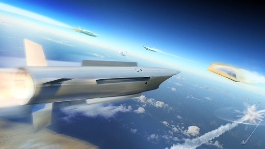 An artist rendering of a notional endo-atmospheric interceptor for the TWISTER project, as envisioned by missile-maker MBDA. (MBDA)