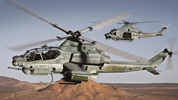 The Bell AH-1Z was developed for the Marine Corps, built with virtually identical front and rear glass cockpits, fully integrated weapons, avionics and communications systems. (Bell Helicopter)