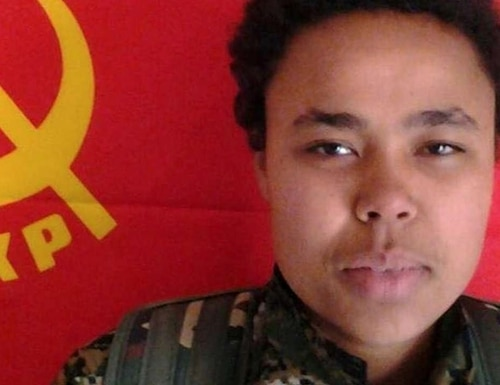 This undated image released by the Kurdish Peoples Protection Units, known as the YPG, on Monday, March 9, 2015 shows Ivana Hoffman, 19, a German citizen fighting with Kurdish militiamen who was killed Saturday battling the Islamic State group near the village of Tel Tamr, Syria, according to Kurdish officials and activists. Hoffman, born in Germany to South African parents, is the third foreign national — and the first female foreign fighter — known to be killed fighting with Kurdish forces against the Islamic State group.(AP Photo/YPG)