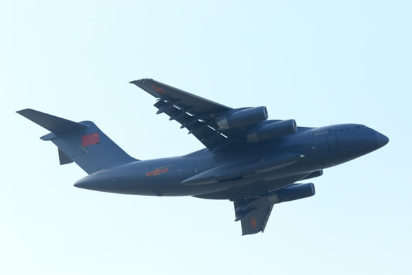 A Y-20 strategic transport plane takes flight Oct. 29, 2016, in Zhuhai, China. The Y-20 is China's first domestically developed heavy-lift transport aircraft. (Getty Images)
