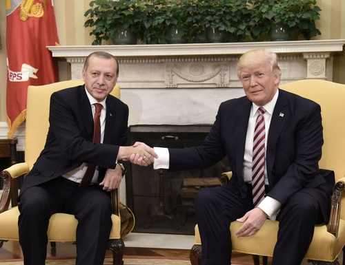 President Donald Trump shakes hands with Turkish President Recep Tayyip Erdogan during a meeting in the Oval Office of the White House in Washington on May 16, 2017. (Oliver Douliery/AFP via Getty Images)