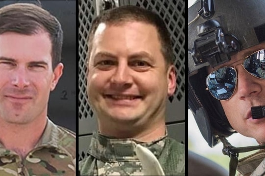 """Army National Guard soldiers, from left, CW3 George """"Geoff"""" Laubhan, CW3 Matthew Peltzer and CW4 Jesse Anderson were killed Feb. 2 when their UH-60 Black Hawk helicopter crashed in Idaho. (Idaho Army National Guard)"""
