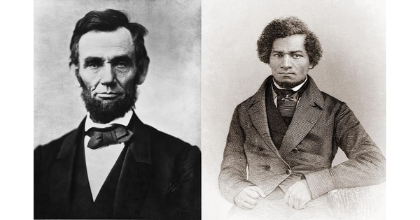 "President Abraham Lincoln first met with Frederick Douglass in August 1863, and Douglass said he left with a new respect for Lincoln: ""I was impressed with his entire freedom from popular prejudice against the colored race."" (Library of Congress)"