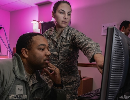 The 90th Cyberspace Operations Squadron signed patent license agreements with private companies to use code that it developed to detect malicious files on a network. (Staff Sgt. Alexandre Montes/U.S. Air Force)