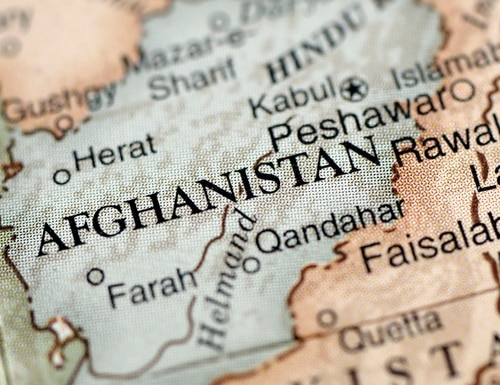 A close-up photograph of Afghanistan from a desktop globe. (Getty Images)