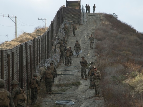 U.S. soldiers and Marines support Customs and Border Protection in the Tecate region of California on Nov. 24, 2018. (Staff Sgt. Jesse Untalan/Army)
