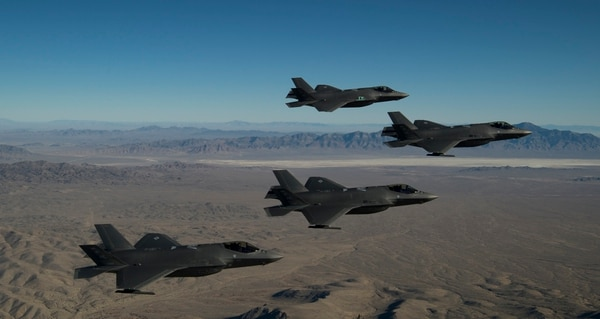 A formation of F-35A Lightning IIs from the 388th and 419th Fighter wings fly over the Utah Test and Training Range as part of a combat power exercise on Nov. 19. (Staff Sgt. Andrew Lee/Air Force)